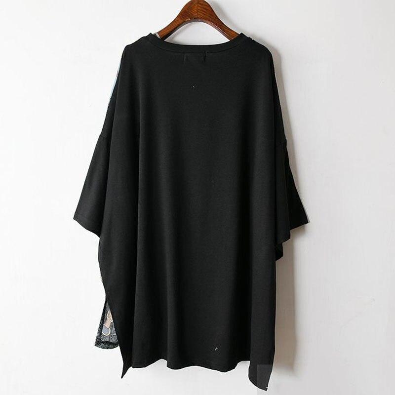 Long Women Europe Fashion 2019 Spring Summer O-neck Short Sleeve T-shirt Female Patchwork Casual Irregular Tee E470 2