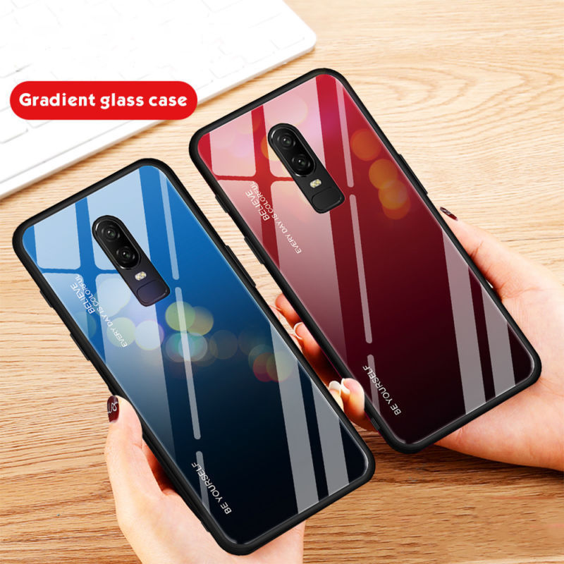 Protective Coque Phone Case For OnePlus 6 6T Shockproof Bumper Gradient Tempered Glass Case Cover Capa For OnePlus 6 6T Fundas