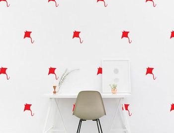 Animal Kids Room Vinyl Sticker Devil Fish Wall Decal Nautical Marine Stingray Bedroom Nursery Wallpaper DIY Removable Mural