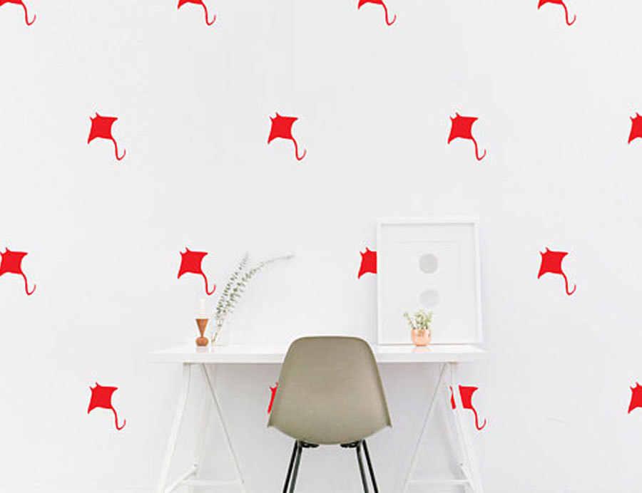 Bar Pattern Wallpaper Vinyl Decals Stickers Office Home Decor Devil fish wall Decal Nautical Marine Stingray Kids room Wall Sticker Bedroom