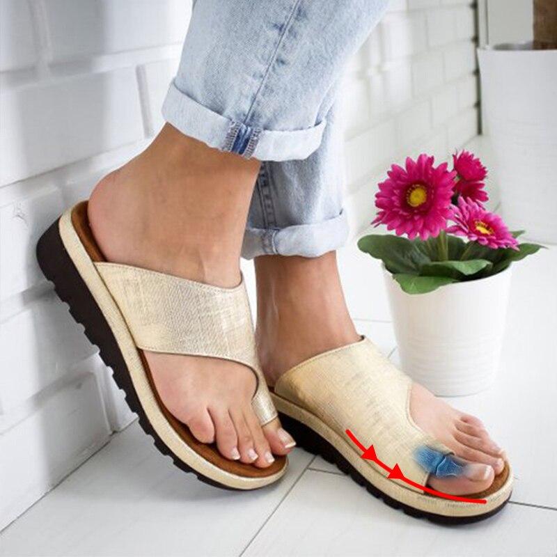 Zuversichtlich Frauen Pu Leder Schuhe Bequeme Plattform Flache Sohle Damen Casual Weiche Big Toe Fuß Korrektur Sandale Orthopädische Bunion Corrector Home