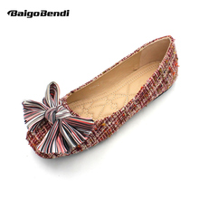 National Style Big Bowknot Flats Woman Casual Shoes New Trendy Shallow Mouth Ballet Flat Girls Lovely