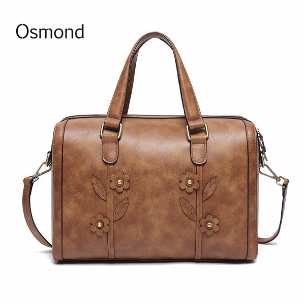 2019 femme sac de voyage femmes grand fourre-tout en cuir sac à main Vintage fleur luxe sac à main dames affaires sac à bandoulière Shopper sac