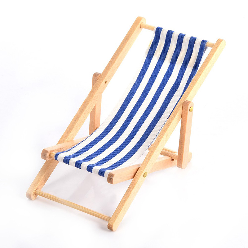 1:12 Scale Mini Beach Lounge Chair Miniature Chairs Stripe Beach Chair DIY Home Decor Kid Toys