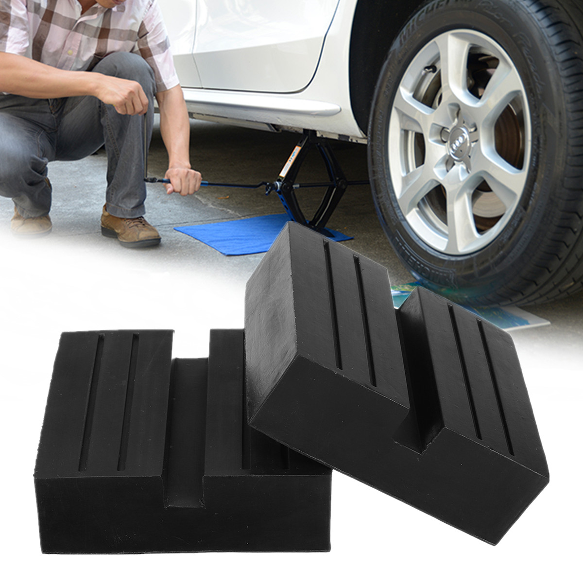 Car Universal Slotted Frame Rail Floor Jack Pads Jacking Rubber Pad Adapter Black Jack Pad