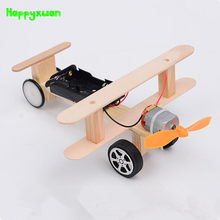 Happyxuan DIY Wind Power Glide Plane Model Kit Wood Kids Physical Science Experiments Toy Set Preschool Educational(China)