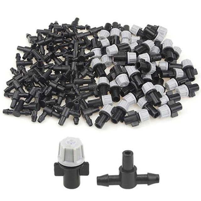 100 piezas (50 pares) Kit de riego de jardín ajustable atomizador conexión T Junta agua riego goteo Ir