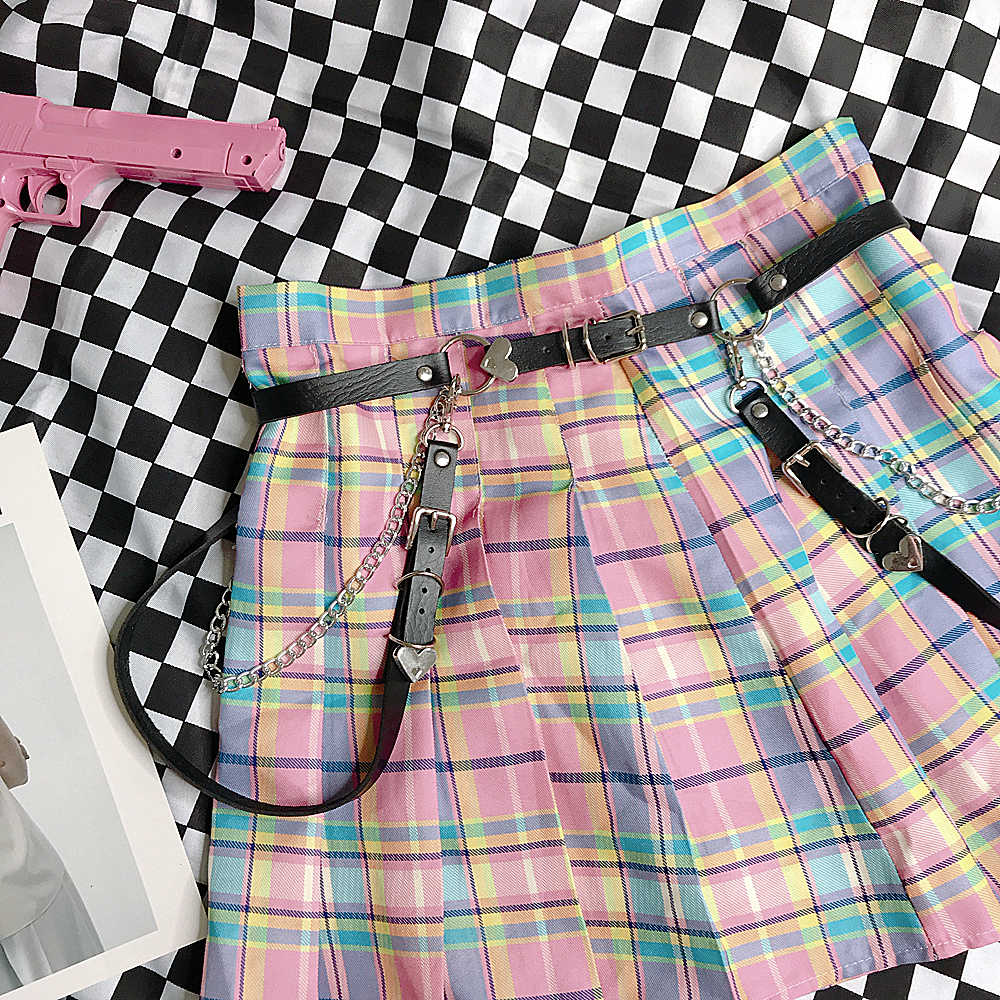 Ulzzang Harajuku New Punk Black Chain Casual UP Fashion Belt Feminine Japanese Sweet Metal Gothic LOVE Belts