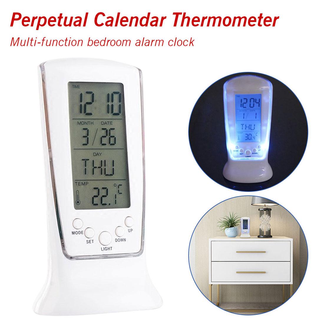 4 In 1 Ha Condotto La Luce Posteriore Piazza Digital Alarm Clock Multi-funzione Music Calendario Termometro Sveglia Ampia Selezione;