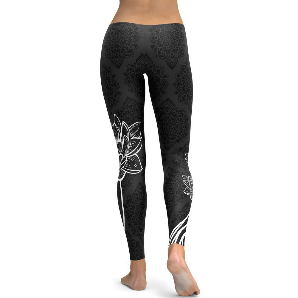 Lotus Print Hip Push Up   Leggings   Women High Waist Elastic Bodybuilding Workout   Leggings   for Sport Gym Slim Fitness   Leggings