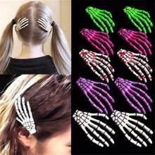 Fashion Girl Women 1 Pc The Bones Of The Hand Hairpin Human Skeleton Fluorescence Hairclip Harajuku Novelty Hair Accessories(China)