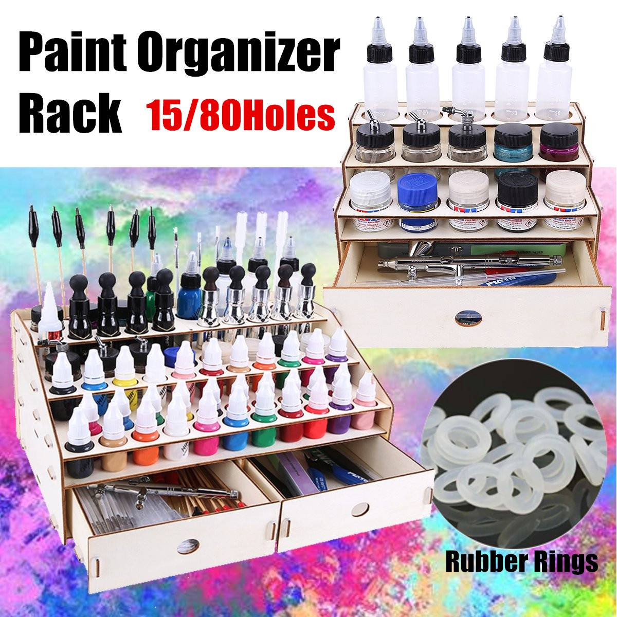 Wooden 3 Layers Pigment Bottle Drawer Storage Organizer Color Paint Ink Brush Stand Rack Modular Holder 15/80 Holes