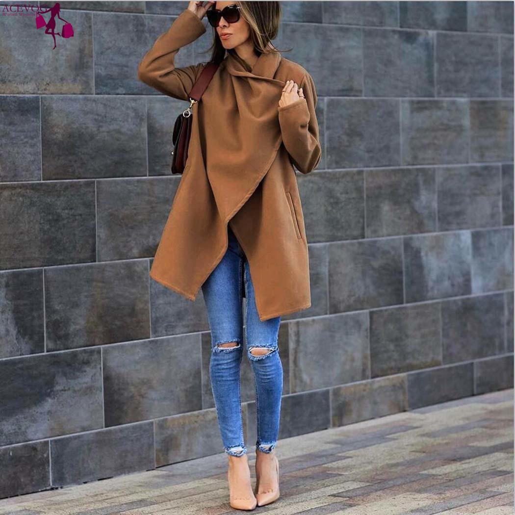 Fit Khaki Chaud Outwear Col Femmes Manteau navy Long Poche Manches Nouveau Blue Longueur Régulier Casual Solide Mode Irrégulière Hanche Wap1Xq