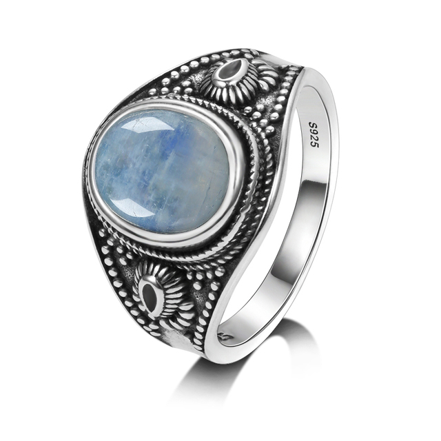 Men and women 925 sterling silver jewelry DIY retro ring natural moonstone 8x10MM oval gem gift wholesale party wedding