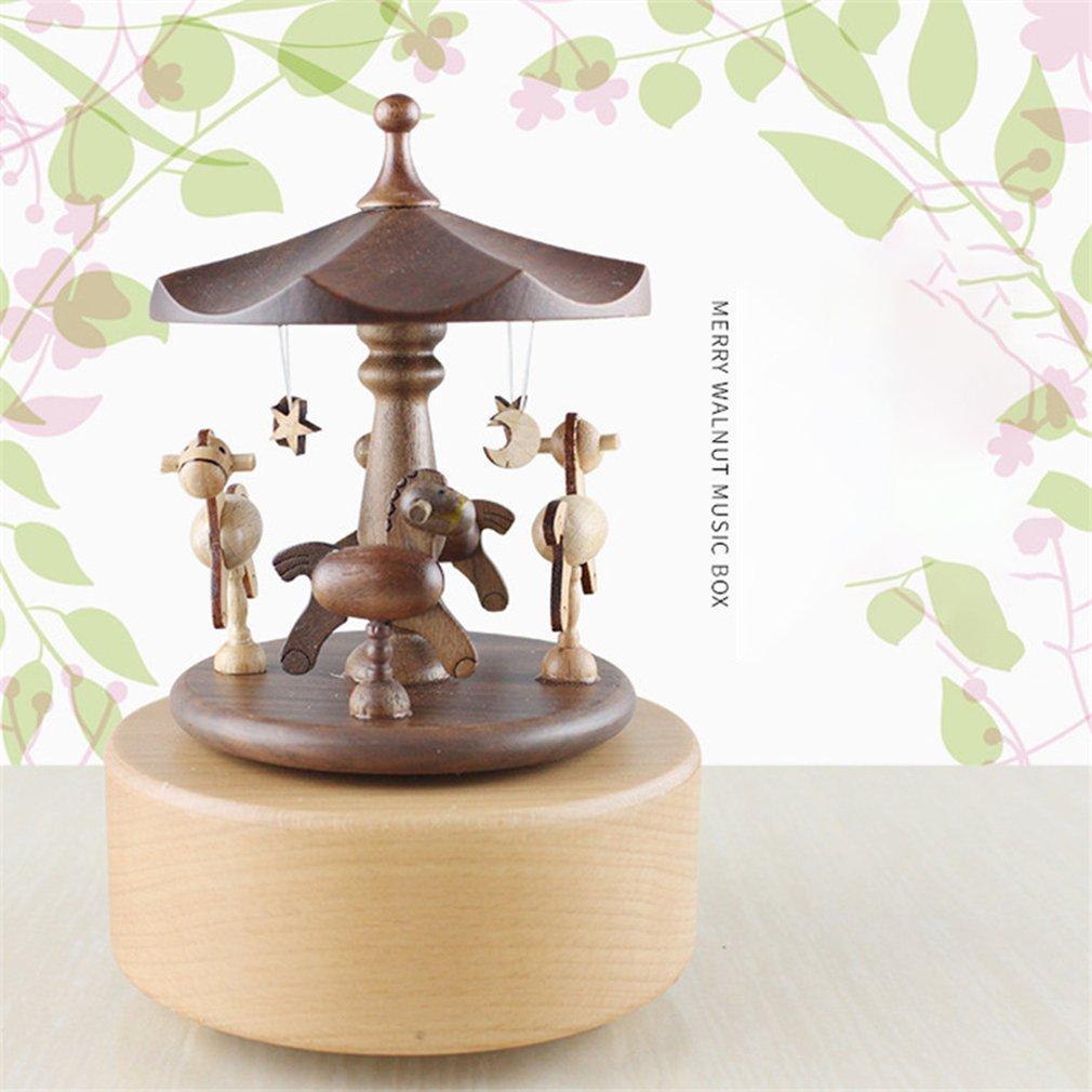 Boîte à musique en bois créative mignon carrousel boîtes à musique en bois artisanat décoration de la maison cadeau présent pour les enfants