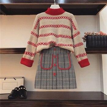 df917ee83 Las mujeres de punto de manga larga suéter trajes de falda dulce de las  mujeres suéter de punto suéter vestido de Gird falda mujeres falda 2 piezas  conjunto