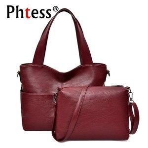 Image 1 - Bolsos de cuero de 2 pc/s para mujer, bolsa de mano femenina de alta calidad, gran capacidad, 2019