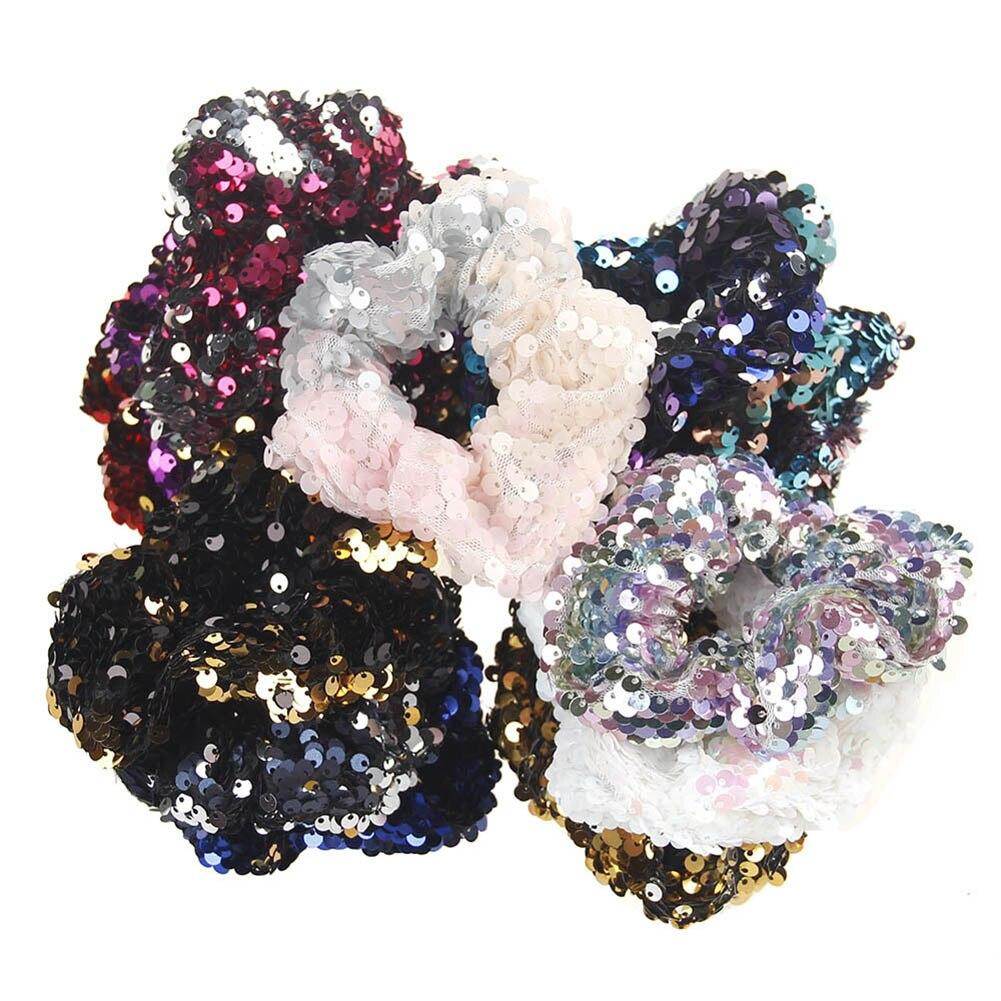 Women Girls Kids Mermaid Glitter Sequin Scrunchie Elastic Reversible Hair Rubber Bands Hair Ties Gum Rope Ring Hair Accessories