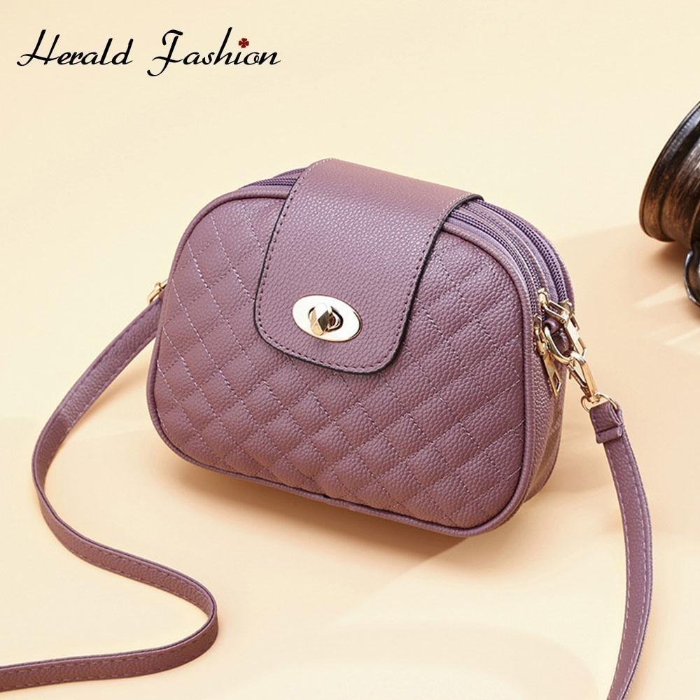 Herald Fashion Women Messenger Bag Quality Leather Female Shoulder Bag Small Casual Flap Bag Vintage Ladies' Crossbody Bags Sac