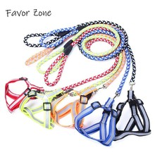 Nylon Dog Harness Reflective Pet Collar Leash Vest Set Adjustable Puppy Harnesses Small Medium Large Dogs Cats pets products
