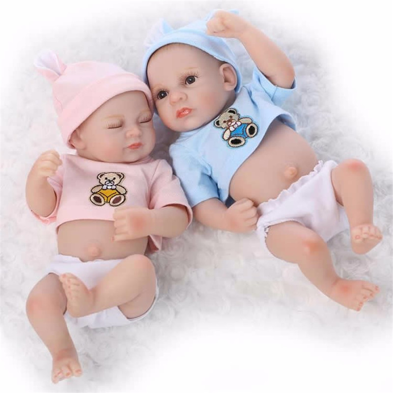 11 Inch Full Silicone Lifelike Twin Reborn Baby Doll Sleeping Girl and Awaking Boy Vinyl Newbirth Babies Bathe Toy Children Gift image