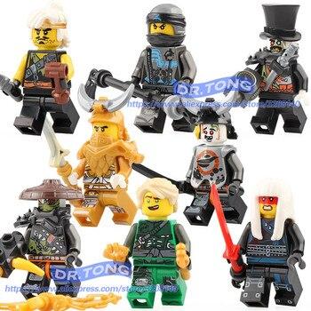 Single Sale Legoing Ninja Figures Iron Baron Lloyd Chew Toy Master Golden Dragon Muzzle NYA Building Blocks Toys A033-A040 predator concrete jungle figure