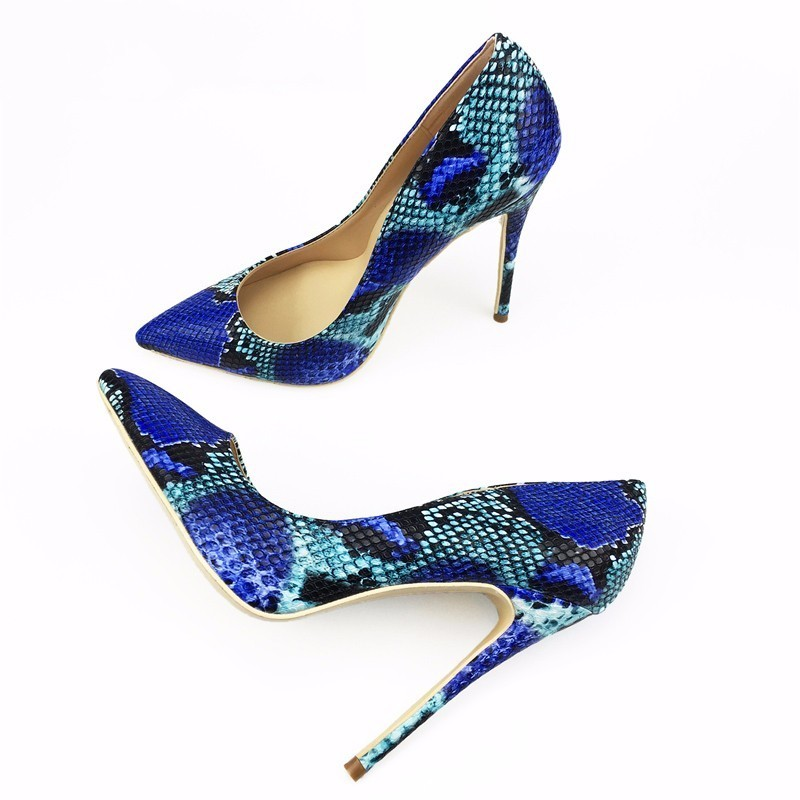 2018 NEW ARRIVE Women Shoes Blue Snake Printed Sexy Stilettos High Heels 12cm/10cm/8cm Pointed Toe Women Pumps2018 NEW ARRIVE Women Shoes Blue Snake Printed Sexy Stilettos High Heels 12cm/10cm/8cm Pointed Toe Women Pumps