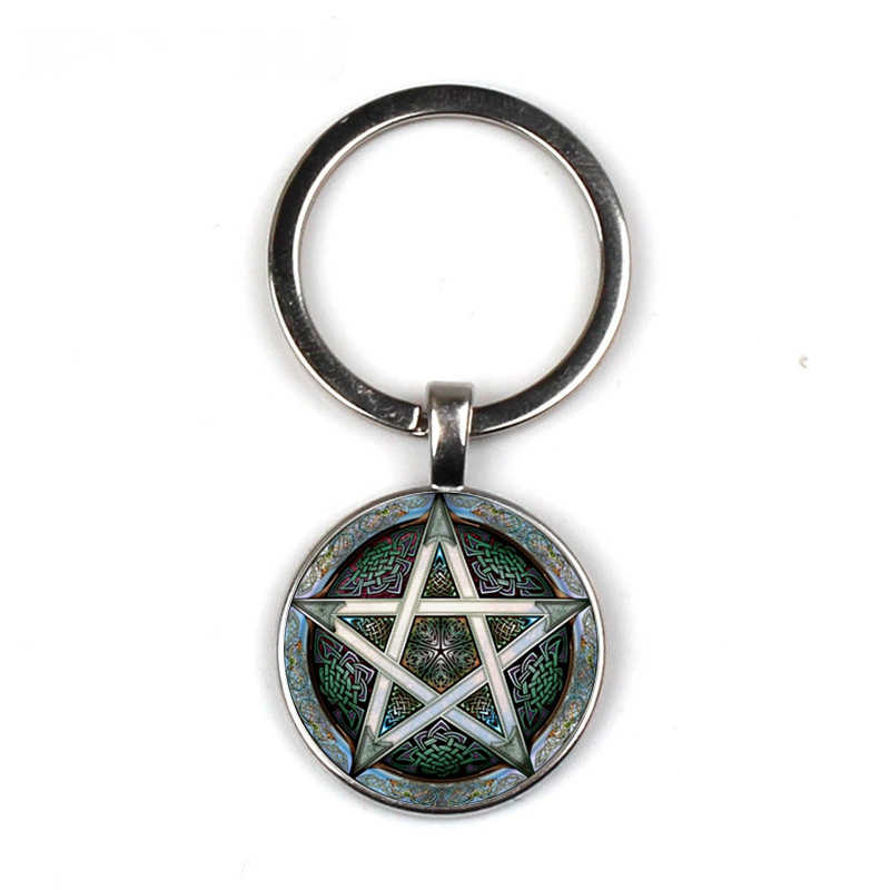 Pentagram Pattern Glass Keychain Life Tree Keychain Handmade Family Picture Private Custom Gift Keychain