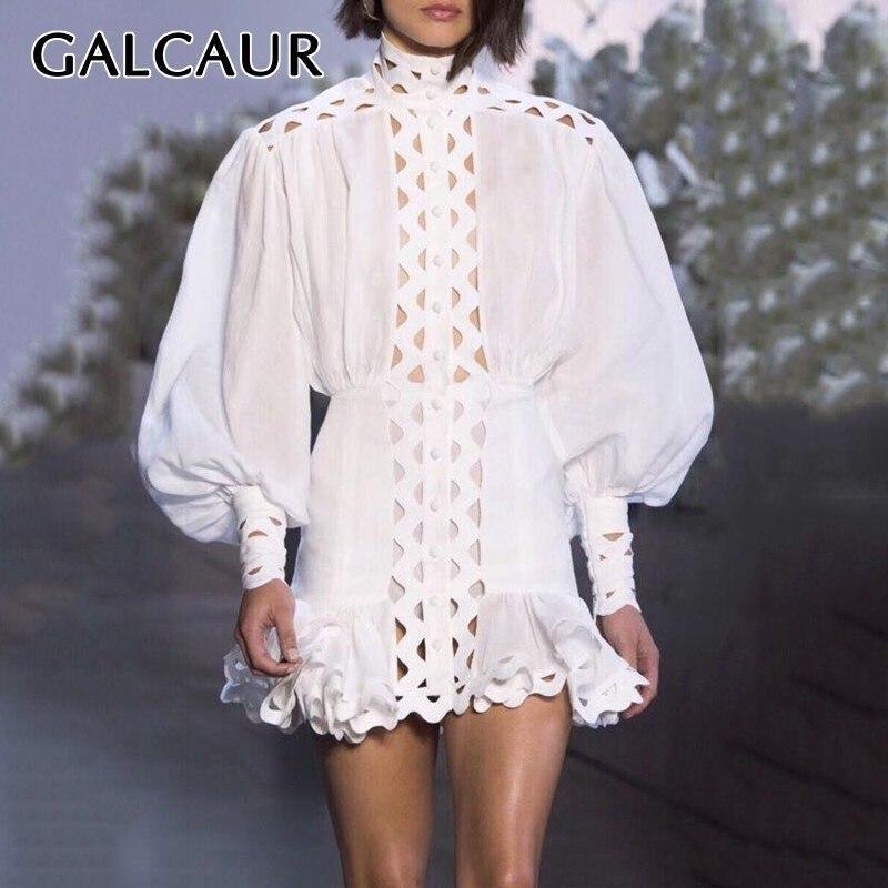 GALCAUR Hollow Out Short Dress Women Stand Lantern Sleeve High Waist Solid Slim Mini Dresses Female