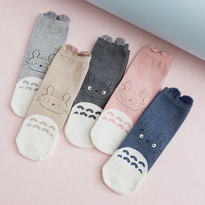 V-Hanver New 5 Pairs Cartoon Cute Short   Socks   Girl Cotton Funny Totoro Patterned   Sock   Women Art Breathable Harajuku Kawaii   Socks