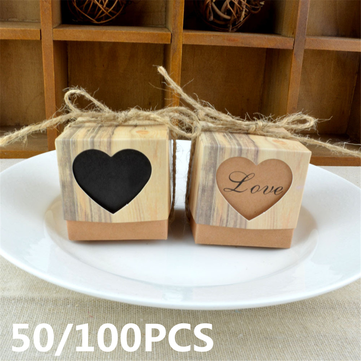 50/100PCS Kraft Paper Candy Box Rustic Wedding Party Chocolate Candy Gift Bags Christmas New Year Gift Boxes Cookies Holder