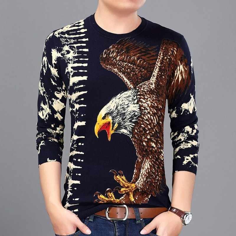 Весенний Мужской пуловер Homme с принтом орла, модный свитер для мужчин, Клубная вечеринка, выпускной, Мужская одежда, вязаный свитер, деловой Повседневный Erkek Kazak