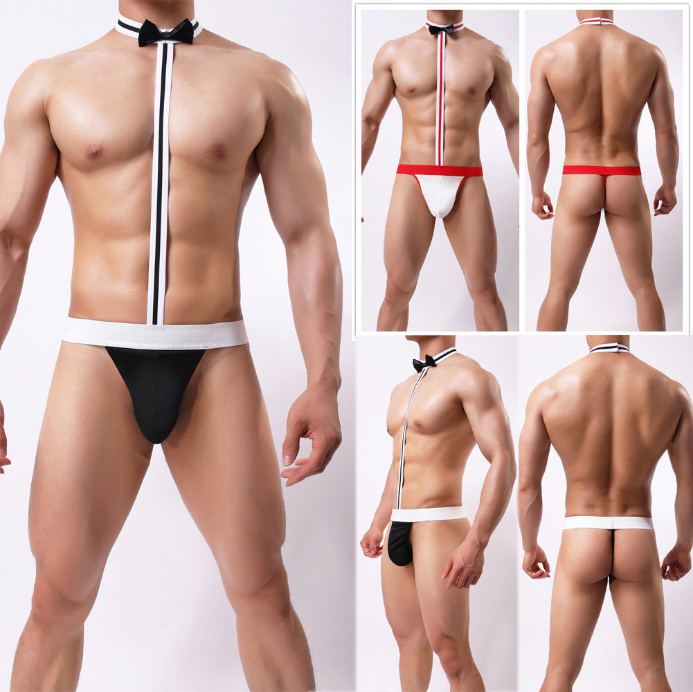 Christmas Men Sexy Lingerie Thong Underwear Bodysuit G-String Bowknot Panties title=