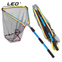 LEO Foldable 50x50x60cm Aluminum Alloy Folding Fly Triangle Brail Large Nylon Fishing Net Telescopic Portable Fish Casting Trap