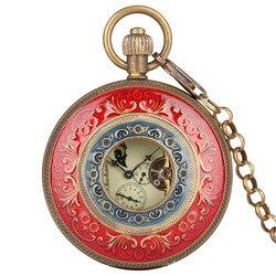 Retro Mechanische Taschenuhr Männer Frauen Horizontale Phasen Mond Sonne 24-Stunde Skelett Tasche Uhren Geschenk für Taschenuhr