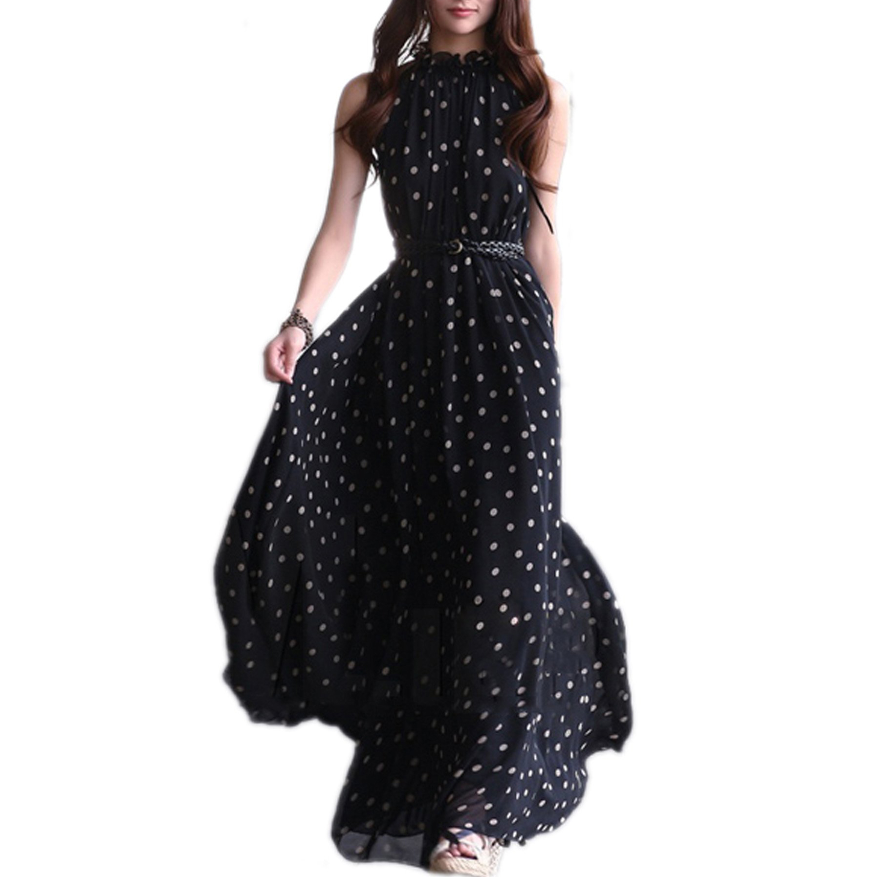 Women's Chiffon Dot Vest Maxi Full Long Dress Sleeveless With Belt