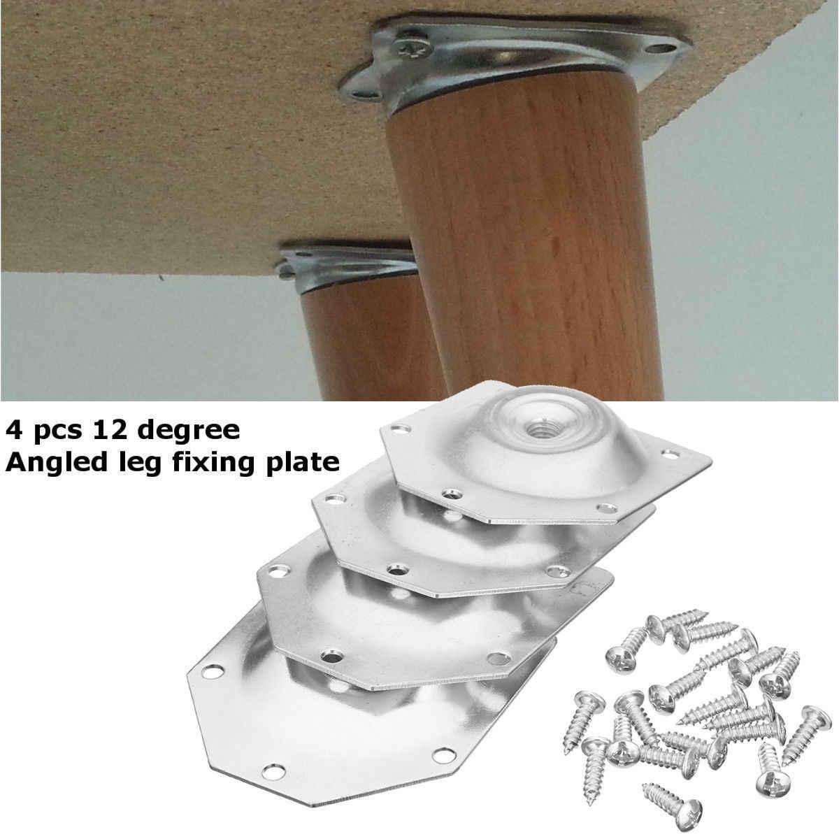 4 шт. угловой ноги крепления монтажная пластина Кронштейн мебель ножки стола комплект W/шурупы Прямая доставка