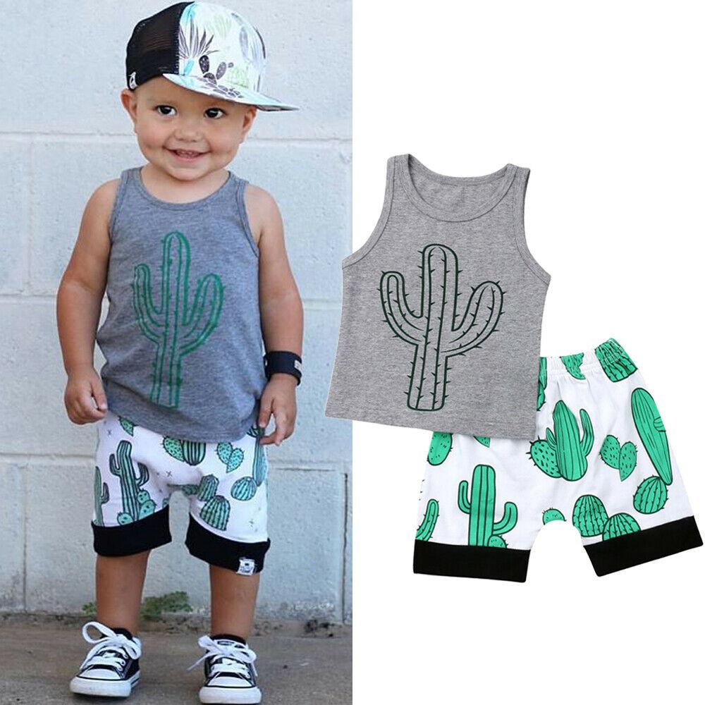 Neugeborenen Kinder Baby Junge 0-3y Kausalen Kleidung Sets Ärmel Kaktus T-shirt Shorts Shorts Outfits Sunsuit HöChste Bequemlichkeit