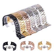 купить Stainless Steel Watchband Classic Curved End Folding Clasp Watch Band Wrist Strap Link Bracelet WatchBands 20mm 22mm по цене 478.71 рублей