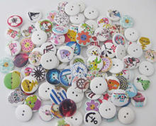 WBNGNA 18mm-20mm printed round wood buttons mix 100pcs Handicraft decoration DIY sewing supplies