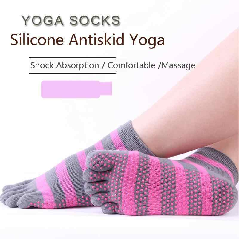 New Breathable Anti-Slip Massage High Elastic Women Yoga Socks Ankle Grip Durable Stripe Five Fingers Cotton Full Toe Yoga Socks