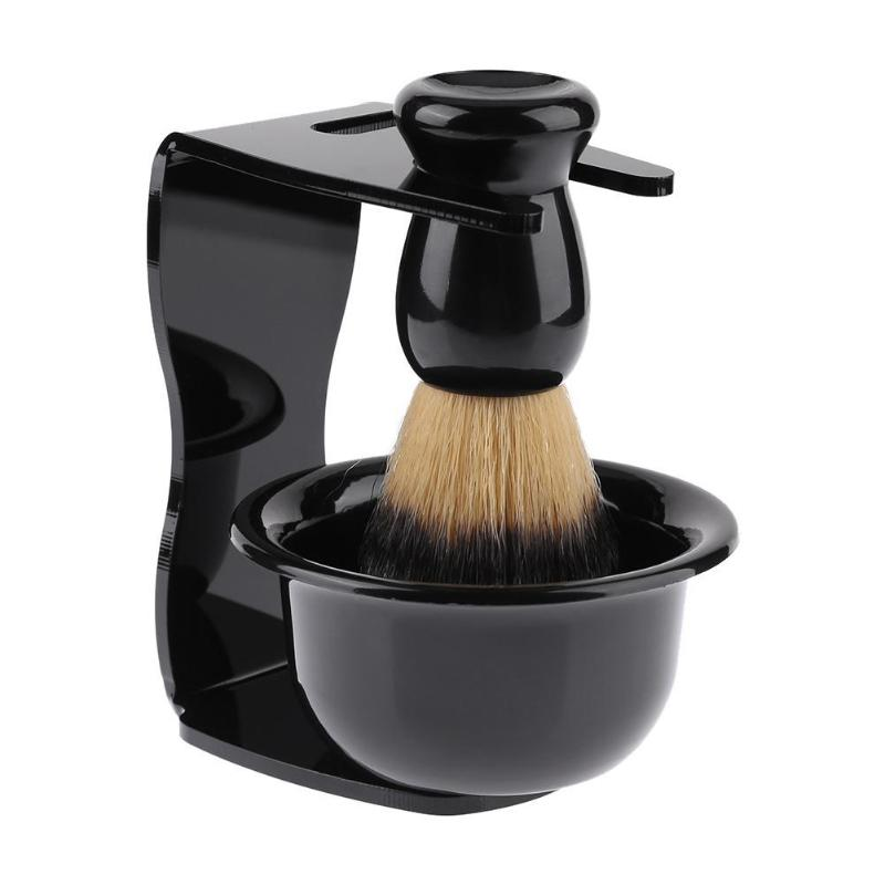 Professional 3 In 1 Shaving Soap Bowl +Shaving Brush+ Shaving Stand Bristle Hair Shaving Brush Men Beard Cleaning Tool