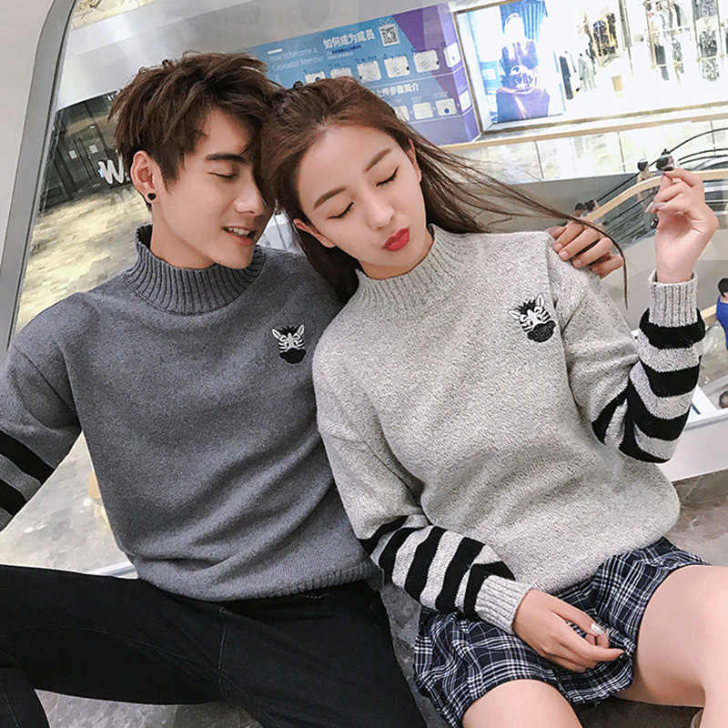 5ad61bbc4d Newest Couple Sweater Striped Female Knitted Pullover Plus Size Turtleneck  Women Cotton Warm Sweater Women Embroidery