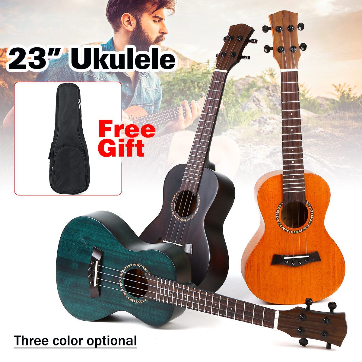 Ukulélé de Concert professionnel 23 pouces 4 cordes guitare acoustique acajou Ukelele guitare hawaïenne Mini Instrument de guitare + sac cadeau