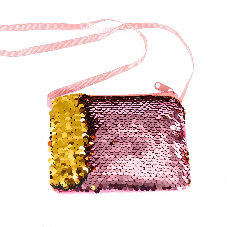 Lantejoulas bebê Mudança Bolsa Da Moeda Da Carteira Crianças Bolsa Brilhantes Sacos de Embreagem Satchel Azul Rosa Roxo Vermelho Amarelo Champagne