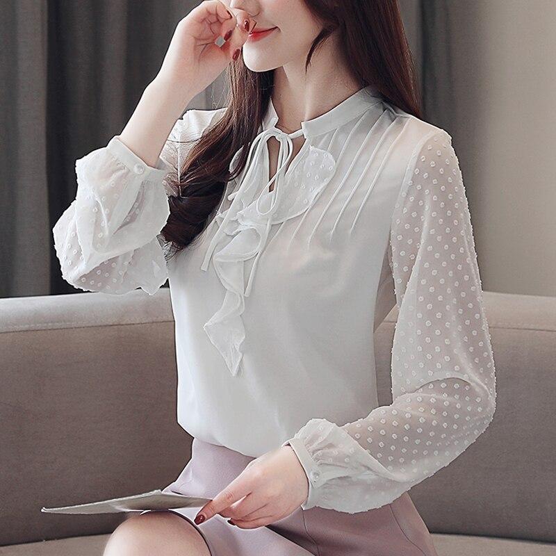 Blusas Femininas Korean Fashion Spring Women Stand Collar Solid Color Chiffon Blouses Ruffles Female White Tops Shirts