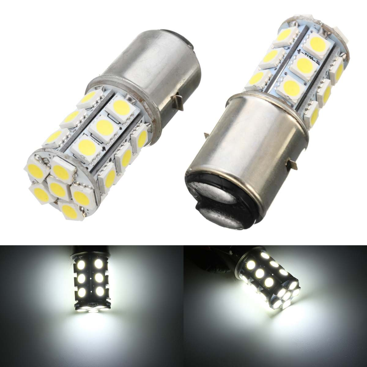 1pc BA20D H6 24 LED SMD Motorcycle Moped ATV PIT Headlight Bulb 6000K 12V Motorbike Passing Light