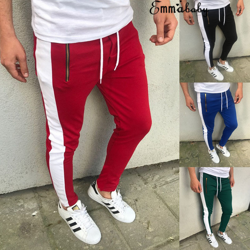 Cool Mens Sports Casual Pants Fitness Running Joggers Trousers Sweatpants Trendy Boys Streetwear Cool Blue Black Green Red Pants