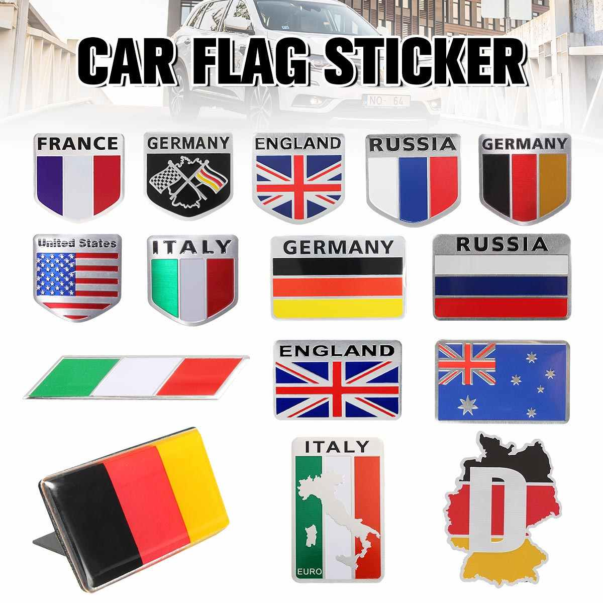 5cm x 5cm Car Aluminum Russia Italy England German France USA  Flag Shield Emblem Badge Truck Auto Decals Sticker