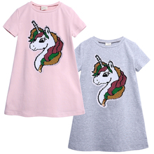 цена на Baby Girls Dress Baby Girl Summer Clothes 2018 Baby Sequin Dress Princess 0-7years Cotton Casual Dress Girls Clothes Low Price